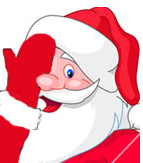 Cartoon Santa covering one eye
